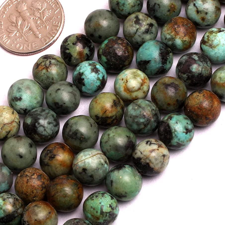 GEM-inside Natural Africa Turquoise Gemstone Loose Beads Round Smooth 8mm Crystal Energy Stone Power For Jewelry Making