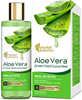 Oriental Botanics Aloe Vera, Green Tea & Cucumber Micellar Water - No Alcohol, Silicone, Sulphate - 150ml