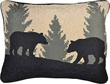 Donna Sharp Pillow Sham - Bear Walk Plaid Lodge Decorative Pillow Cover with Bear Pattern - Standard Size