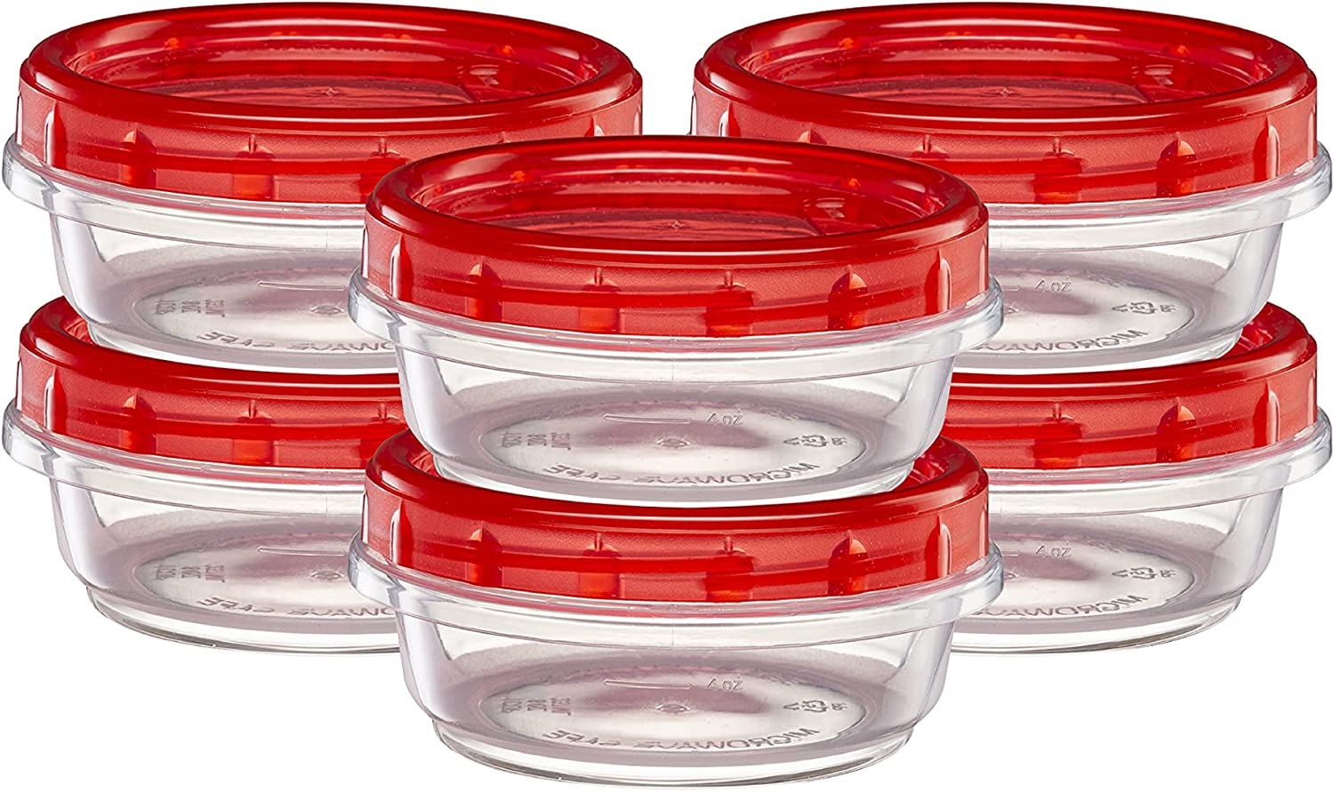 (8 Ounce 10 Pack) Twist cap Deli Containers Clear Bottom With Red Top Screw on Lids Twist Top Food Storage Freezer Containers