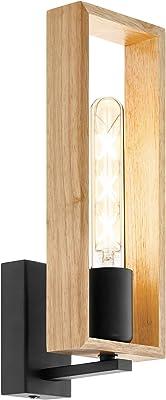 EGLO Lampe Murale Littleton, Applique Murale Vintage à Flamme au Design Industriel, Lampe Rétro en Acier et en Bois, Couleur : Noir, Marron, Douille : E27
