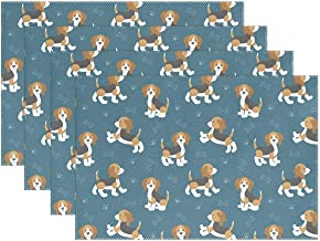 HoDeColor Cute Cartoon Dog Puppies Beagle Placemat Table Mat, 12 x 18 Washable Table Place Mats for Kitchen Dining Room Table Decoration 1 Piece