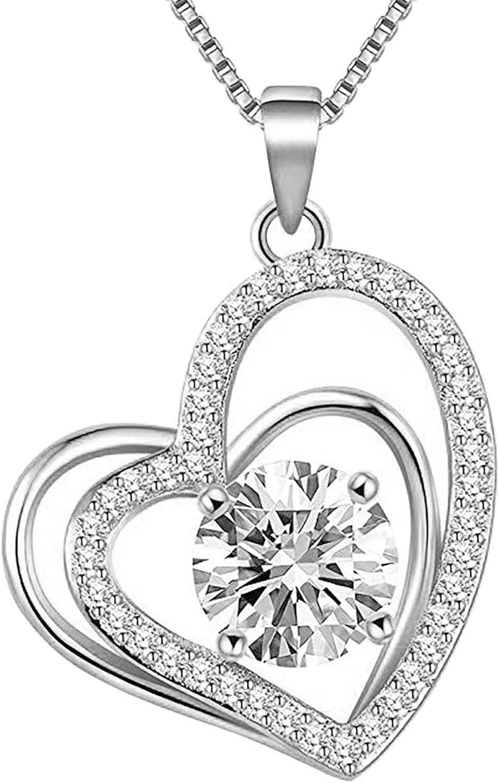 Super Special SALE shop held Ussuma Double Heart Necklace Pendant Lov Elegant Copper