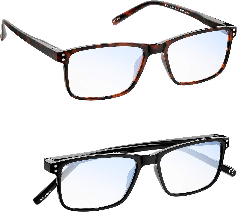Gafas Hombre Mujer MADEYES Gafas de Lectura Buena Vision Anti fatiga visual TR90 Ligero Protección 410UV (1 Negro 1 Marrón, 3.00 Dioptero)