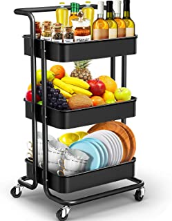 JOMARTO 3-Tier Rolling Utility Cart with Handle, Storage Cart Organizer with Lockable Wheels Makeup Cart Organizer Craft Art Cart Multi-Purpose Trolley Cart for Kitchen, Bathroom, Office