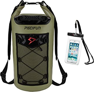 Piscifun Waterproof Dry Bag Backpack 10L 20L 30L 40L Floating Dry Backpack with Waterproof Phone Case for Water Sports - Fishing, Boating, Kayaking, Surfing, Rafting Gifts for Men and Women