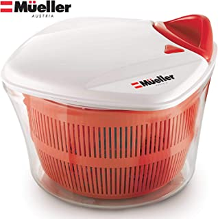MUELLER Large 5L Salad Spinner Vegetable Washer with Bowl, Anti-Wobble Tech, Lockable..