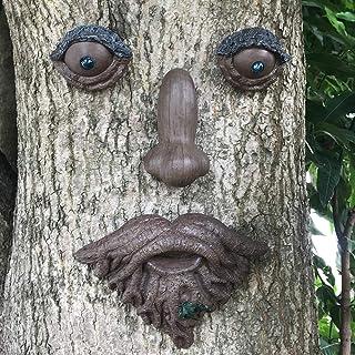 Claratut Glass Bead Eyes Tree Face Decor, Whimsical Tree Peeker Yard Art Garden Decorations, Old Man Tree Hugger Outdoor S...
