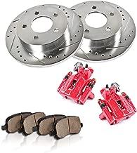 CCK12428 REAR Powder Coated Red [2] Calipers + [2] 5 Lug Rotors + Quiet Low Dust [4] Ceramic Pads Premium Kit [ SN95 ]