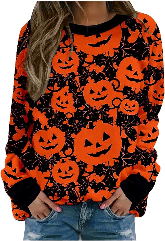 Halloween Sweatshirts for Women,Crewneck Cute Ghost Pumpkin Graphic Long Sleeve Loose Pullover Tops