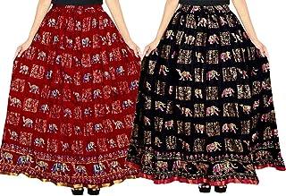 jwf Women's Cotton Jaipuri Skirt (Multicolor,Free Size) Combo Pack of 2 Peice