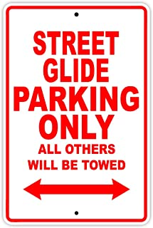 HARLEY DAVIDSON STREET GLIDE Parking Only All Others Will Be Towed Motorcycle Bike Novelty Garage Aluminum 12