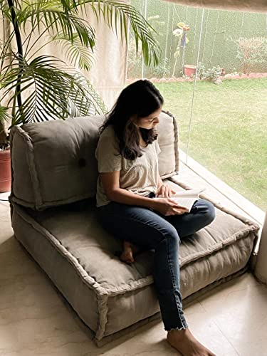 PRITI Lovely Grey Living Room Lazy Floor Sofa Large Size For Seating Meditation Yoga Pooja Guests Living Room Work From Home