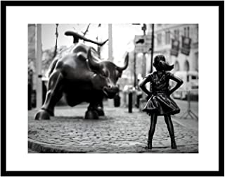 Fearless Girl Statue, Feminist gift, New York Framed, Framed art, Art, Black and White Art Print,Framed Art Print 14x18 inch, Girl Power, Home Decor, Wall street bull, Equality, Women rights