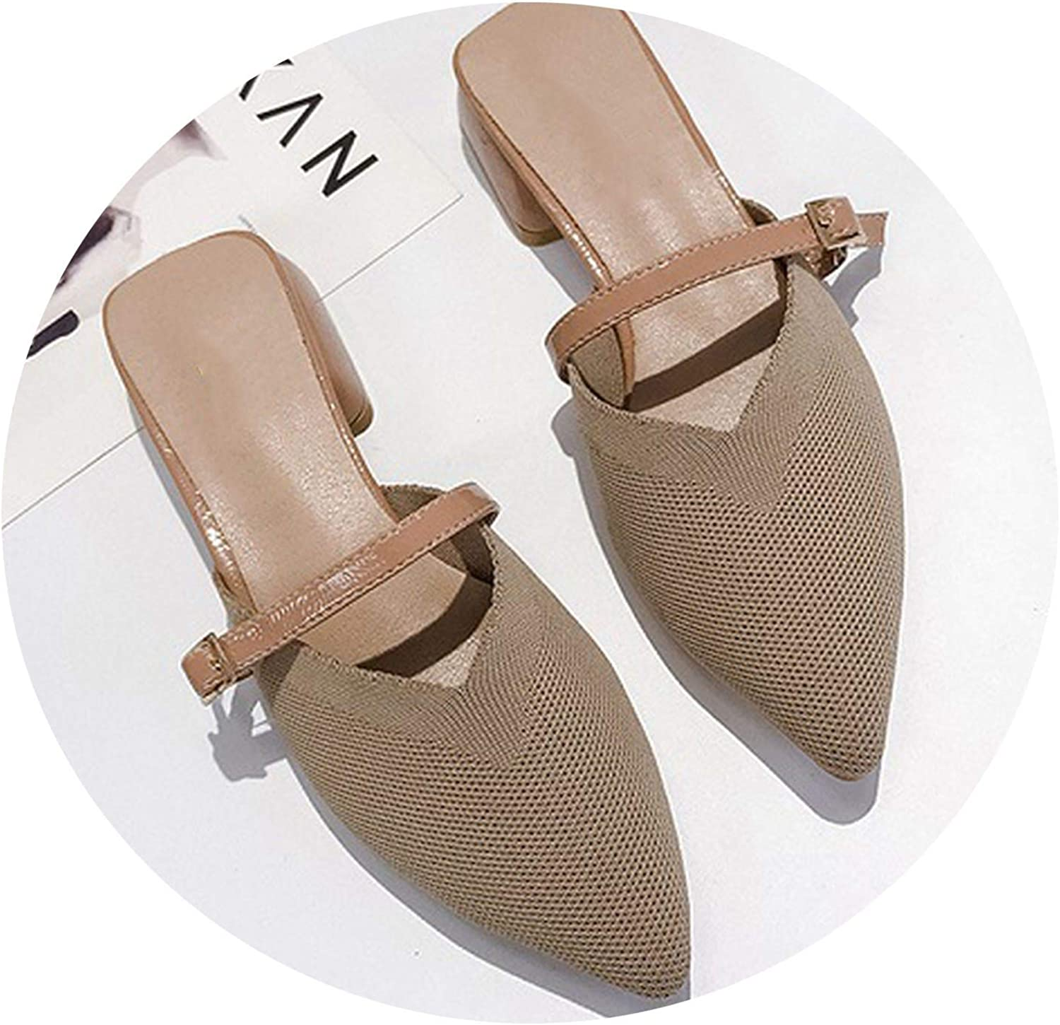 Monicas-Dream Luxury Solid color Flats Mules Slip On Lady Slippers Mesh Strap Pointed Toe Women Mules Outdoor Slipper shoes Woman Slides