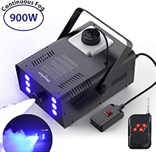 Huge Amount of Fog, Theefun 900W Professional Halloween Continuous Fog Machine with Lights - 6 Stage LED Lights with 7 Colors & Strobe Effect for Party Wedding, Wireless Remote Control Smoke Machine