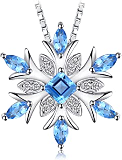 JewelryPalace Snowflake Genuine Swiss Blue Topaz Solid 925 Sterling Silver Pendant Necklace 18 Inches Box Chain