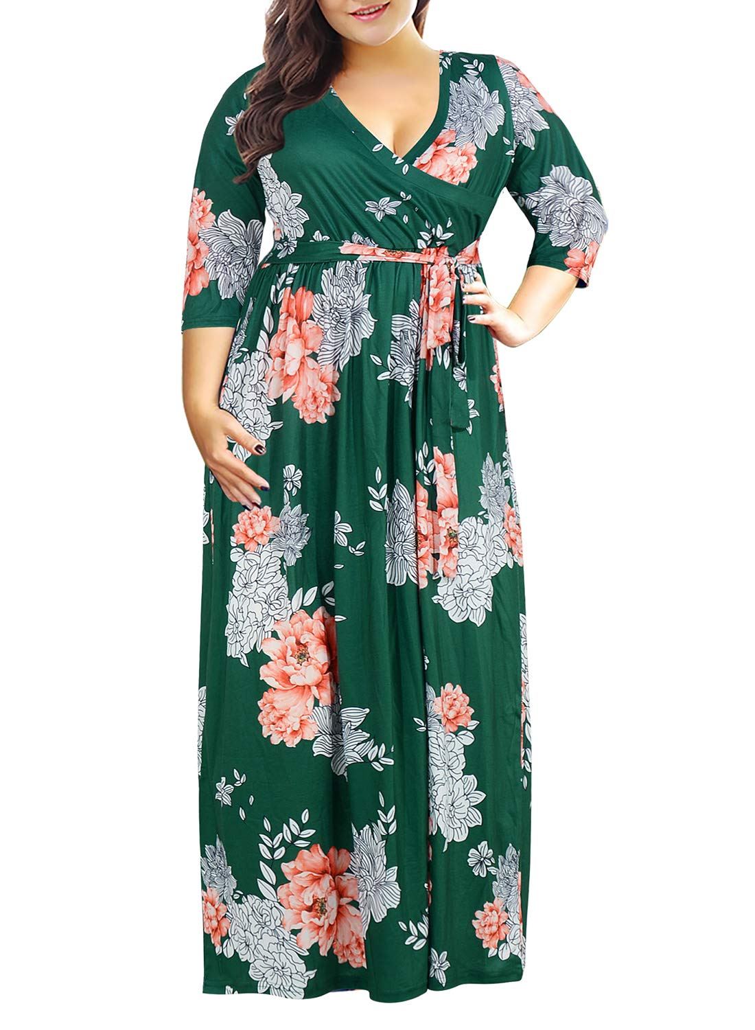 Plus Size Dresses - Women's Plus Size 3/4 Sleeve Faux Wrap Floral Dress With Belt