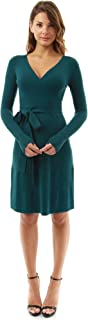 Women V Neck Faux Wrap Long Sleeve Knit Dress