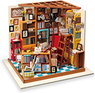 (Library) - Rolife DIY Miniature Dollhouse-Woodcraft Construction Kit-Wooden Model Building set-Mini House Crafts-Creative...
