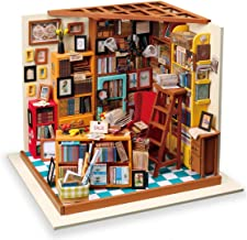 Rolife Dollhouse DIY Miniature Room Set-Woodcraft Construction Kit-Wooden Model Building Set-Mini Library Play Set-Christm...