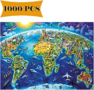 1000 Pieces Puzzles World Map Jigsaw Puzzles Artwork Art for Teen Adult for Adults Children Grown Up Puzzles Large Size Toy Educational Games 1000 Pcs World Map (World Map)