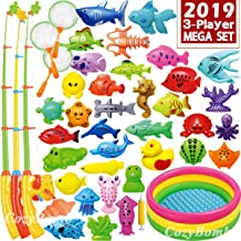 CozyBomB Magnetic Fishing Game Toys Mega Set - 57 Pcs Summer Outdoor Backyard Water Toy with Kiddie Pool, Floating Pole Rod Net Fish - Kids Toddler Education Teaching and Learning (Mega)