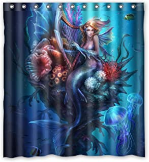 KXMDXA Decorative Vintage Mermaid Art Waterproof Polyester Bath Shower Curtain Size 66x72 Inch