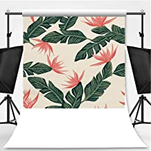 Seamless Composition from Dark Green Tropical Banana Leaves and Flowers Light Yellow Background Theme Backdrop Photography Background Backdrops,016001,6x10ft