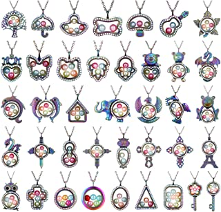 Vie Jeune Random Mixed 10pcs Floating Charms Living Memory Locket Necklace Stainless Steel Pendant Pearl Cage Glass Locket Rhinestone Necklace