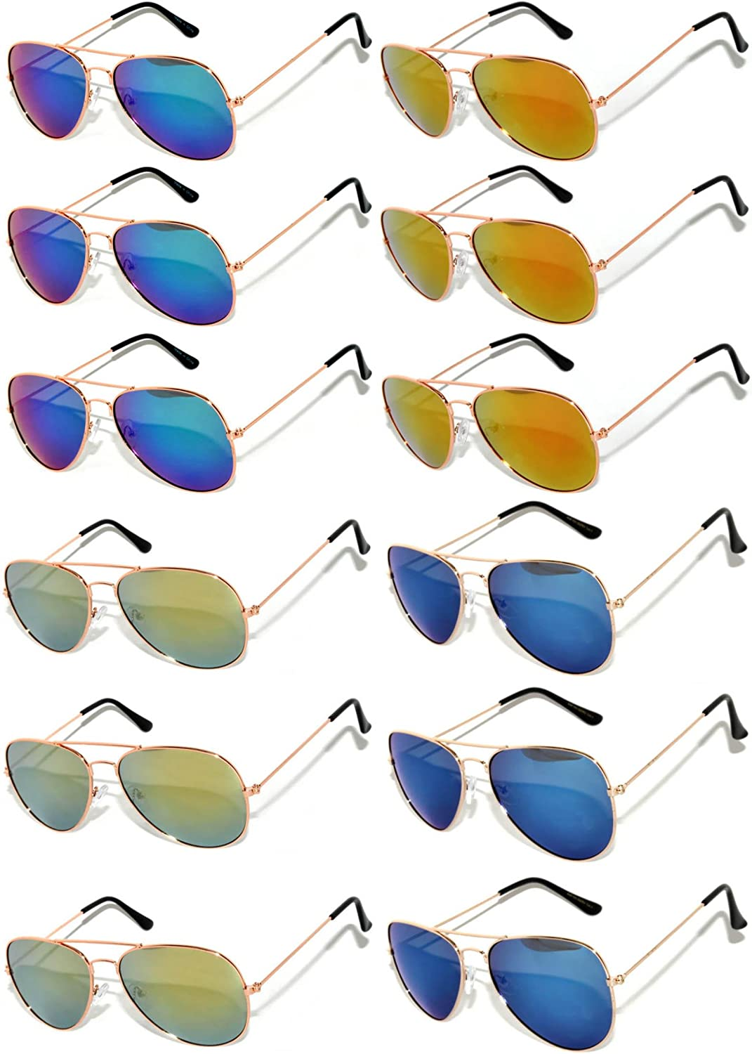 12 Pairs Classic Aviator Sunglasses Metal gold Silver Black Frame colord Mirror Lens OWL