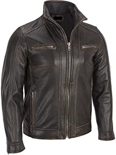 Superior Leather Garments - Mens Black Rivet Faded Seam Leather Jacket Genuine Cow Hide