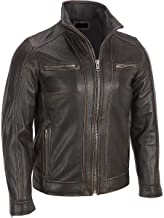 black rivet leather faded seam cycle jacket