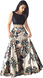 Ocean Dream Women's Bangalore Silk Printed Semi-stitched Lehenga Choli (Jp Jp Jp, Beige, Free Size)