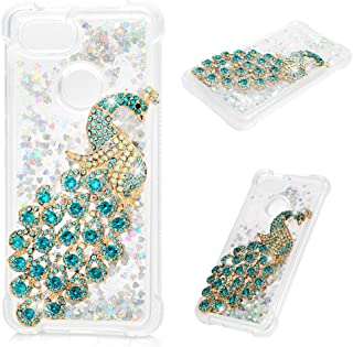 Google Pixel 3 Case, Clear Liquid Glitter Case Bling Shiny Sparkle Flowing Moving Hearts 3D Diamonds Rhinestones Gems Shock Absorption TPU Bumper Drop Resistant TPU Cover for Google Pixel 3 - Peacock