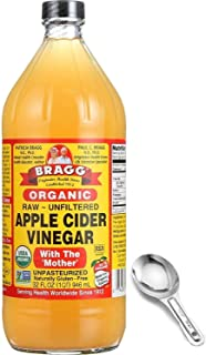 Bragg Organic Apple Cider Vinegar With the Mother– USDA Certified Organic – Raw, Unfiltered All Natural Ingredients, 32 Fl...
