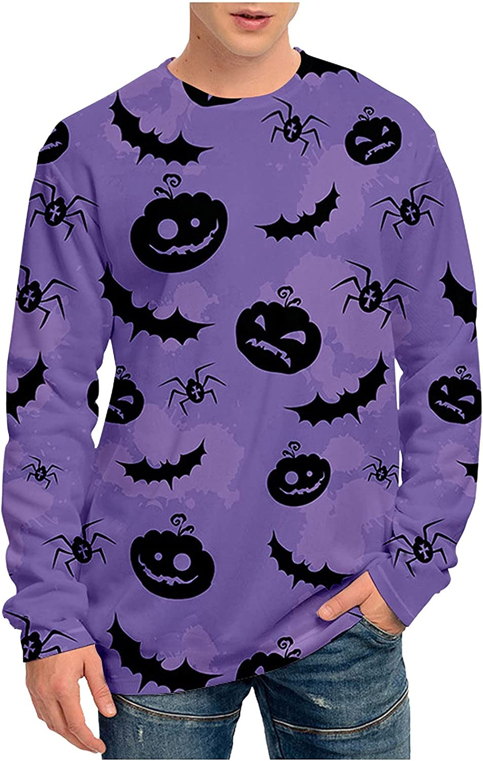 WOCACHI Halloween Long Sleeve T-Shirts for Mens, 3D Printed Pumpkin Bat Ghost Round Neck Shirts Casual Tee Tops