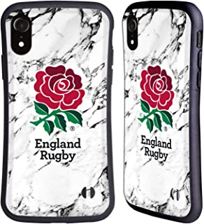Head Case Designs Officieel Gelicentieerd England Rugby Union Wit 2017/18 Marmer Hybrid Case compatibel met Apple iPhone XR