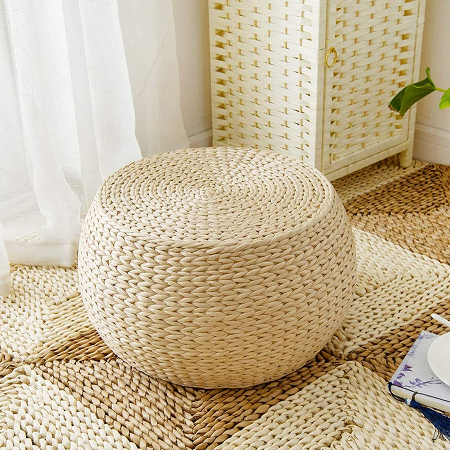 RXY-Wicker chair Japanese Round Rattan Stool Comfortable and Environmentally Friendly Home Living Room Change shoes Stool Tatami Cushion (Size   40cm)
