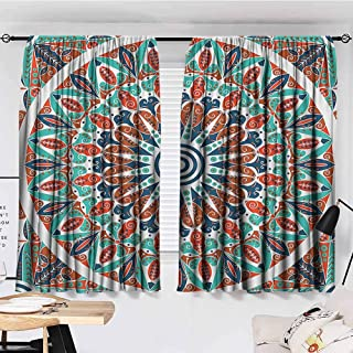 hengshu Moroccan Decor Collection Curtains Bedroom Floral Geometry Complex Design Medallion Middle Ages Symbolic Tribal Artwork Teal Orange White Curtains Girls Bedroom