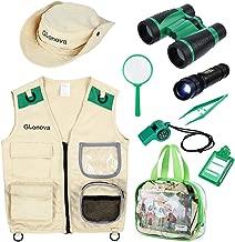 Glonova Kids Explorer Kit for Boys Girls, Adventure Exploration Kit for Halloween Dress up with Washable Safari Costume Vest, Binoculars, Magnifying Glass, Safari Hat