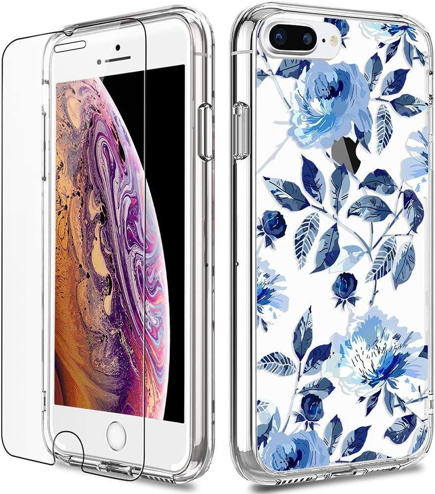 iPhone 8 Plus Case, iPhone 7 Plus Case with Screen Protector, LUHOURI Clear Girls Women Slim Fit Protective Hard Case with Soft TPU Bumper Silicone Cover Phone Case for iPhone 8 Plus / 7 Plus, Blue