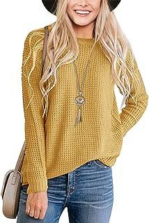 TECREW Women's Waffle Knit Pullover Sweaters Long Sleeve Casual Jumper Tops