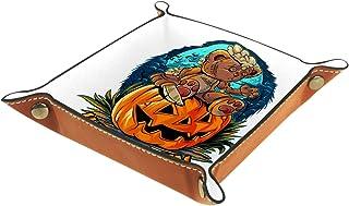 Plateau à bijoux Halloween ours Plateau de rangement pour bijoux en cuir Petite boîte de rangement Organisateur de désordr...