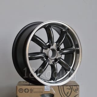 4 PCS ROTA RB WHEELS 17X7.5 PCD: 4x100 OFFSET: 45 HB:56.1 HYPERBLACK WITH POLISH LIP
