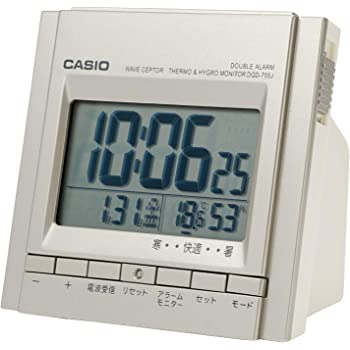 CASIO(カシオ) 目覚まし時計 電波 デジタル ウェーブセプター ダブルアラーム 温度 湿度 カレンダー 表示 シルバー DQD-705J-8JF