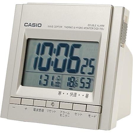 CASIO(カシオ) 目覚まし時計 電波 シルバー デジタル ダブルアラーム 温度 湿度 カレンダー 表示 DQD-705J-8JF