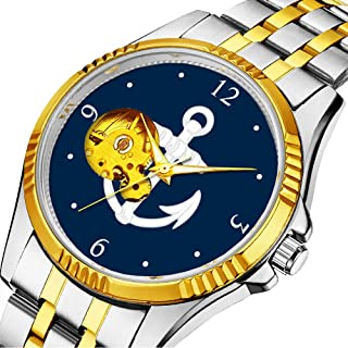 Casual Men Automatic Mechanical Watch Luxury Brand Casual Sports Watches for Male Personality dial & Clear Window 598.WhiteBlue Nautical Anchor Symbol