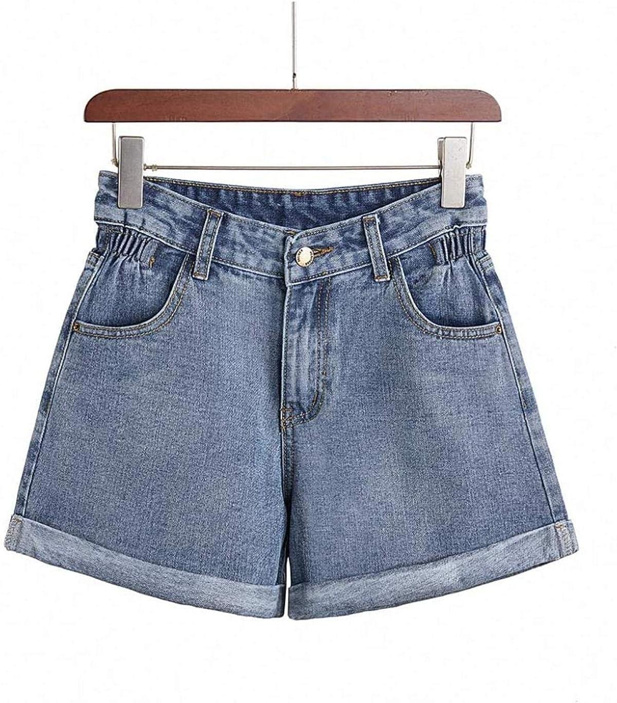 Rsqsjgkert Denim Shorts Women's Summer Light Blue Women Short Jeans Elastic Waist Wide Leg High Waist with Pockets Shorts
