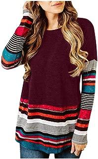 kaifongfu Women's Striped Print Pullover Tops Loose Casual Tunic Blouse Sweater Casual T-Shirt
